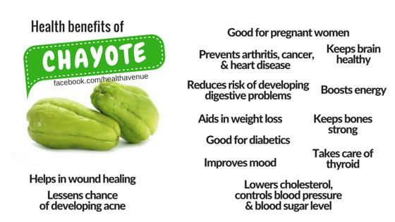 health benefits of chayote Health benefits of chayote (chow chow in tamil)  good for the heart (folate – 23% dv)  may prevent cancer (vitamin c – 13%)  energizes the body.