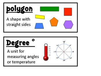 Here's a set of vocabulary designed for use with Grade 3, Unit 4 of Math Expressions. The words include: parallel, perpendicular, line of symmetry, congruent, diagonal, right angle, right triangle, vertex, angle obtuse angle, acute angle, straight angle, acute triangle, obtuse triangle, ray, scalene triangle, isosceles triangle, equilateral triangle, polygon, and degree.