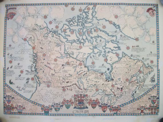 Map Vintage 1964 Figural Map Of Canada By Peter R Furse