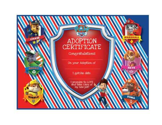 Paw Patrol Adoption Certificate  Instant Download  by Bee3Shop