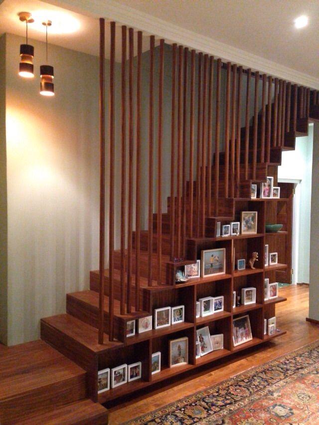 Staircase bookshelf slats