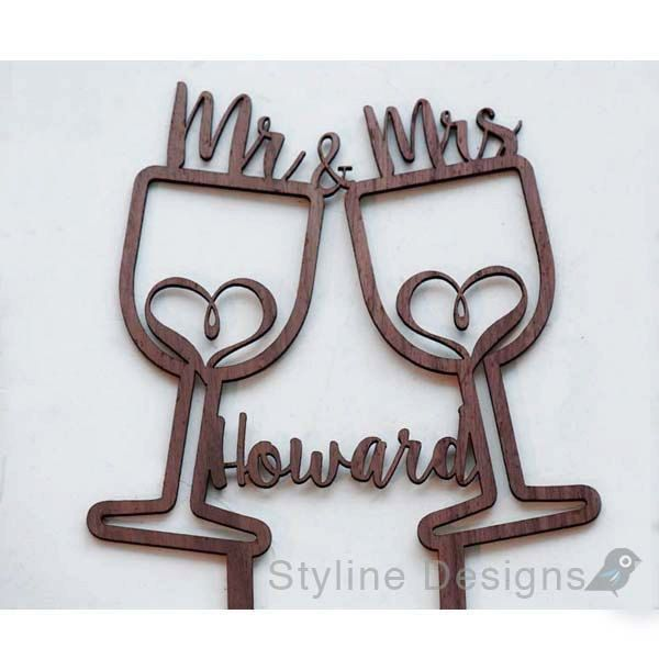Rustic Wine Cups with Hearts - Mr and Mrs - Personalized Name Wedding Cake Topper - Laser Cut Wood Cake Topper