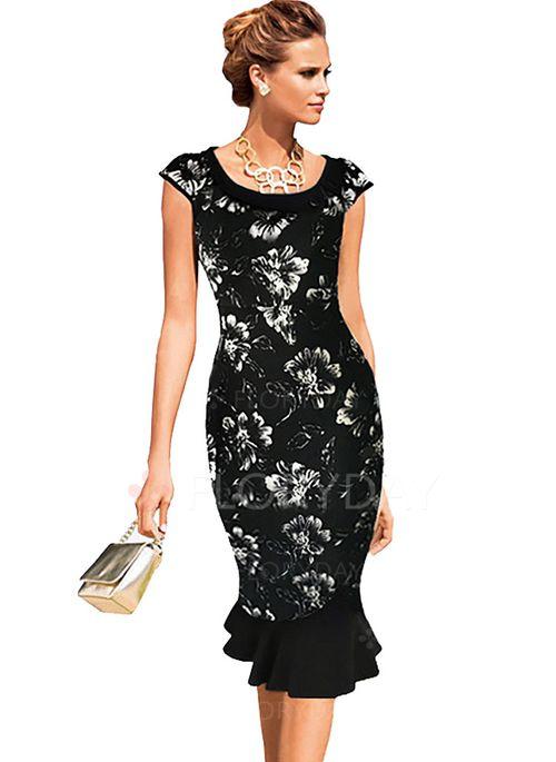 Kjoler - $34.27 - Bomuld Polyester Blomster Helt kort ærme Knælængde Elegant Kjoler (1955100175)