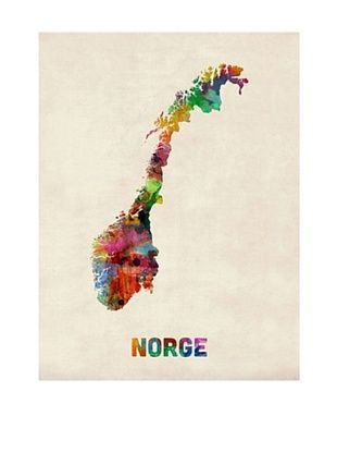 56% OFF Trademark Fine Art Norway Watercolor Map by Michael Tompsett
