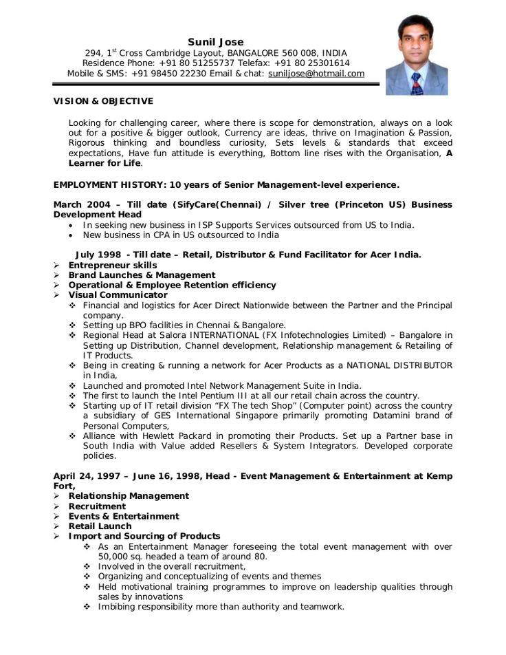 Job Resume Sample India