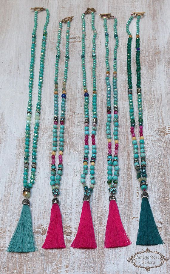Silk Tassel Necklace Colourful Tassel Necklace Turquoise
