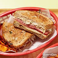 Slim Turkey Reubens - yogurt, pickles, capers, mustard, rye, swiss, pastrami, sauerkraut