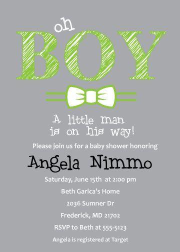 Baby boy shower invitation, oh boy art, digital, printable file, baby shower invite