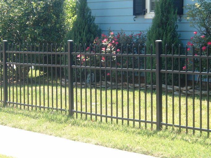 Pointy Ends No Top Railing Black Metal Fencing Aluminum