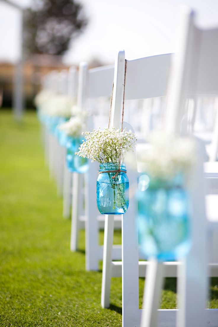 Baby's Breath Mason Jar Aisle Decorations