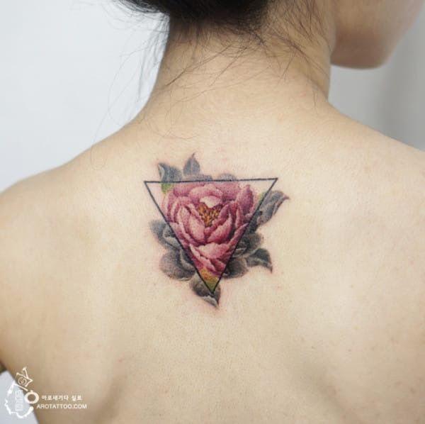 geometric, rose tattoo, abstract