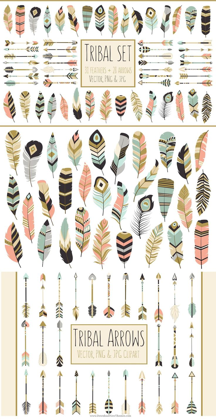 59 Arrows & Feathers Tribal Clipart > This listing is for a set of 59 beautiful #tribal #arrows and #feathers in coral, navy, mint and gold. Included in this download are: •59 PNG Files •59 JPG Files • 2 EPS Files •2 AI Files #graphics #design