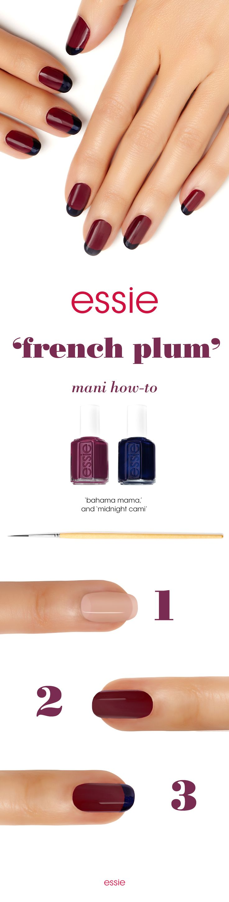 Ah oui, how about a french plum mani that comes with a contrast? Here's an unexpected combination that's sure to delightfully surprise you. Start by apply any essie base coat. Follow it up with 2 coats of 'bahama mama'. Next apply a wide stroke of 'midnight cami' to the tip. Finish off with a top coat. Voila!