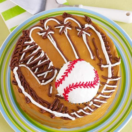 Ball and Glove Birthday Cake - perfect for birthdays during baseball season!