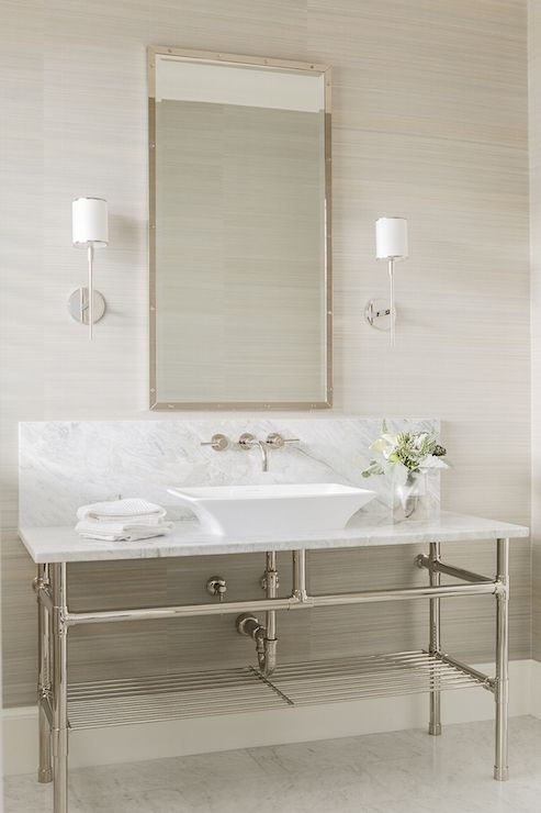 vessel sink under a faucet mounted on a marble backsplash situated  under rivet vanity mirror illuminated by Hudson Valley Lighting Aberdeen  Sconces 884 best Bathrooms images on Pinterest   Gold designs  Bathroom  . Elegant Bathrooms Aberdeen. Home Design Ideas