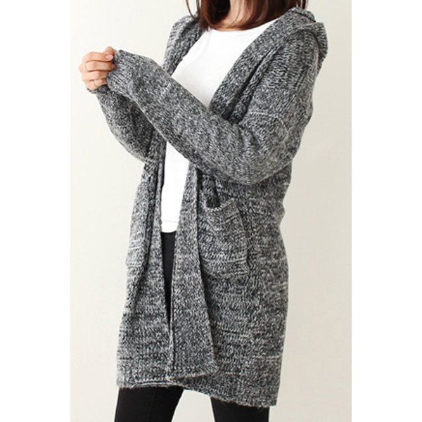 Trendy Style Hooded Loose-Fitting Long Sleeve Women's Cardigan