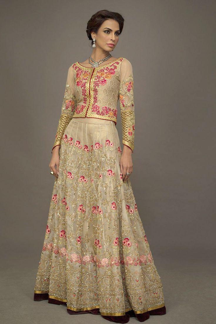 deepak perwani nude lengha w magenta pink work & embellishment  boat neck pointed sleeves full length top
