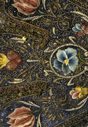 """"""" detail of gloves: Accessories of the Elector Elizabeth of the Palatinate (1596-1662) 1629-1630 Leather, silk with embroidery in gold, silver and silk yarn, metal tip, pearls...."""