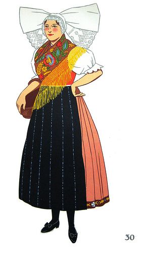 A Plzen Costume, Bohemia, Czecho-Slovakia (by Ultimo TAFE Library)      from the book National Costumes, designed by Lepage-Medvey; Austria, Hungary, Poland, Czecho-Slovakia    printed in Belgium, 1939 by Hyperion, Paris