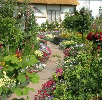 flowering border in a cottage garden. beautiful ideas. Home Design Ideas