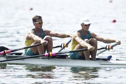 TWA-0050848 © WestPix 2016 Rio Olympics. Rio de Janeiro, Brazil. Rowing Mens Double Sculls.David Watts and Chris Morgan (hat) are knocked out of the finals. Picture: Simon Santi The West Australian