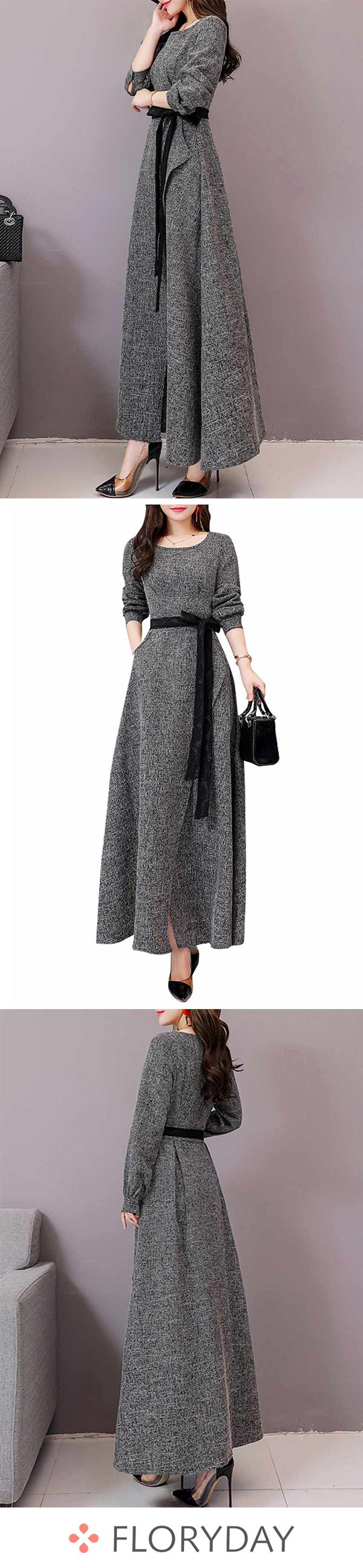 Solid Long Sleeve Maxi X-line Dress 2