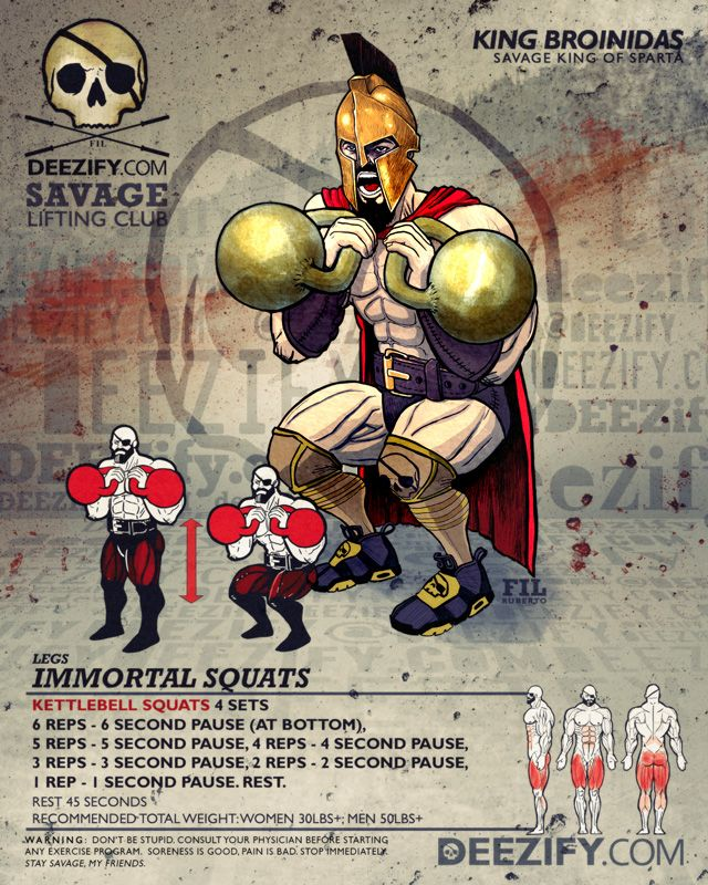 leg exercise: kettlebell squats with king leonidas