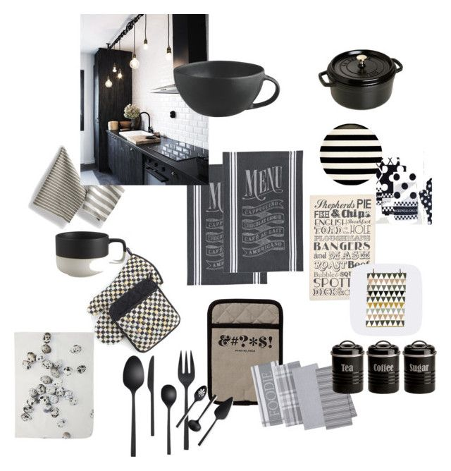 Keittiö 2015 by laila-riiski on Polyvore featuring interior, interiors, interior design, home, home decor, interior decorating, Staub, Typhoon, Dot & Bo and By Nord