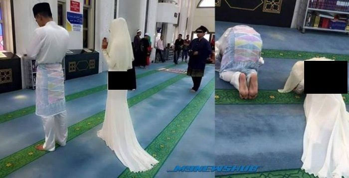 Gambar Pengantin Perempuan Solat Bersama Suami Dengan Pakaian Ketat Di Masjid Jadi Viral