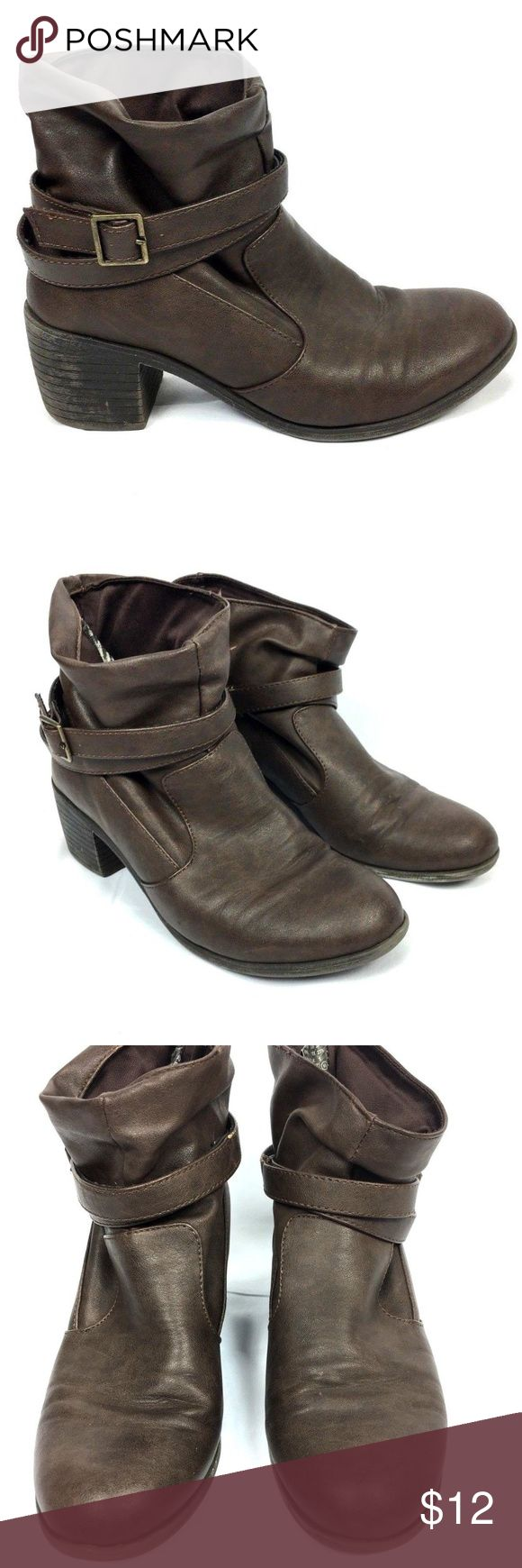 American Eagle Slouch Ankle Boots 6.5 Brown American Eagle womens slouch ankle boots Size 6.5 Gently loved - no holes or excessive wear - gently loved Light wear on inner sides of shoes - all pictured Cute buckle and straps American Eagle Outfitters Shoes Ankle Boots & Booties