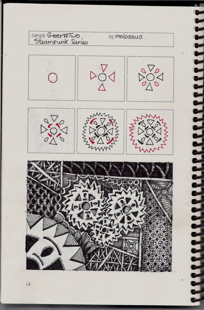https://flic.kr/p/bjraPP | Triangear (Geer #2) Patterns | Wow!  I did this pattern ages ago, but it looks like I never uploaded it here.  Forgive me, if I did and just can't find it.    This was drawn in one of Geneviève Crabe's Tangle Organizers.  You can find out more at her blog.