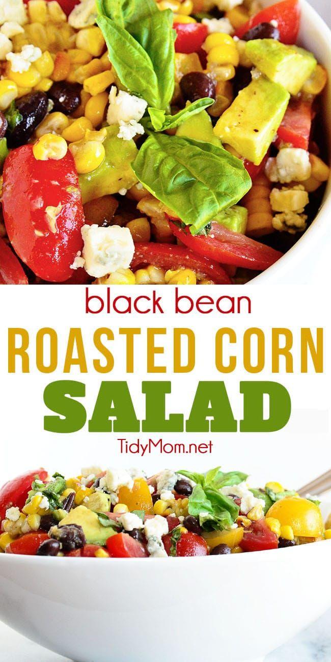 Black Bean Roasted Corn Salad Recipe Roasted Corn Salad Corn Salad Recipes Roasted Corn [ 1300 x 650 Pixel ]