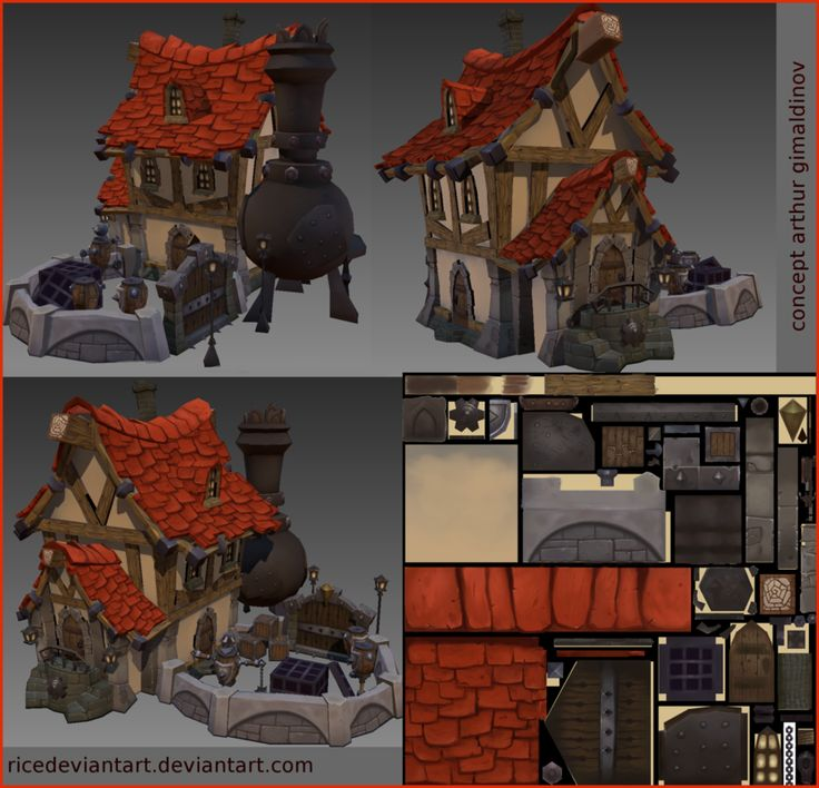 Modular fantasy building (model + diffuse map)