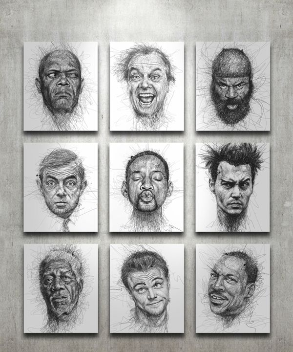 Faces by Vince Low , via Behance-This Malaysian artist has created a series of celebrity portraits composed almost exclusively of swirling lines, with his careful overlapping of each creating the fine shading and linear elements to give us a highly accurate representation.