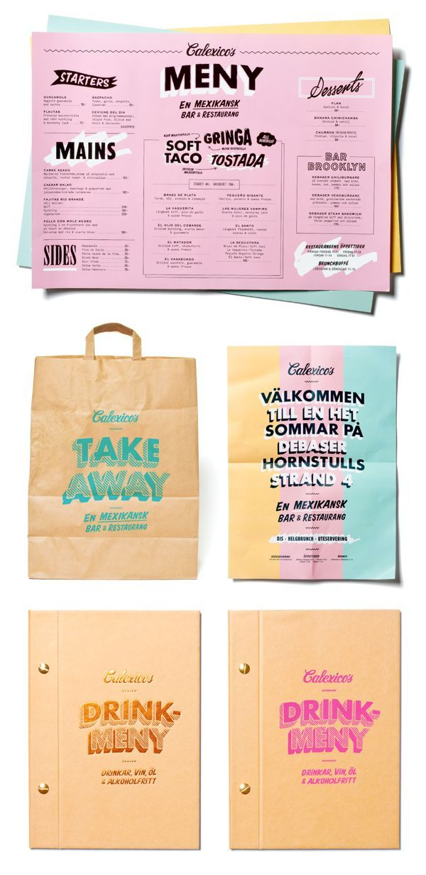 Calexico's on Behance. Restaurant identity and print design. I love the bright colors and modern typography.