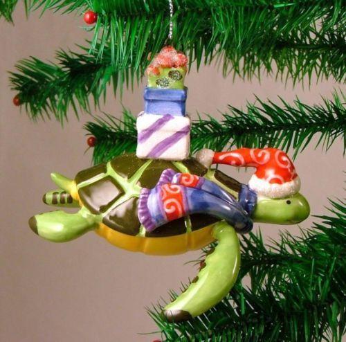 Santa Hat Sea Turtle Tiki Tropical Christmas Ornament