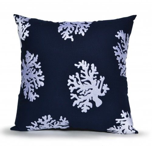 Navy blue coral pillow cover made in cotton with hand embroidered sea coral in white thread. This coastal theme beach home decorative pillow cover recalls seaside walks on a plain of coral cotton fabr
