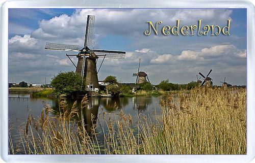 $3.29 - Acrylic Fridge Magnet: Netherlands. Windmills Van Kinderdijk