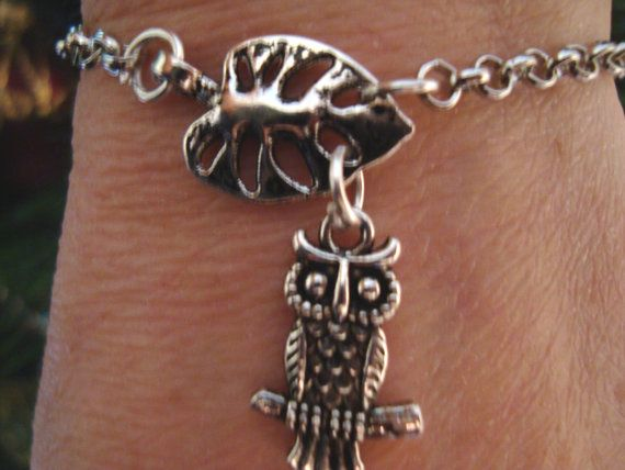 Leaf and owl charm bracelet silver metal chain charm by BiancasArt