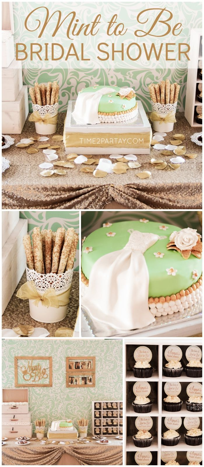 Love this mint and gold party with vintage style! See more party ideas at CatchMyParty.com!