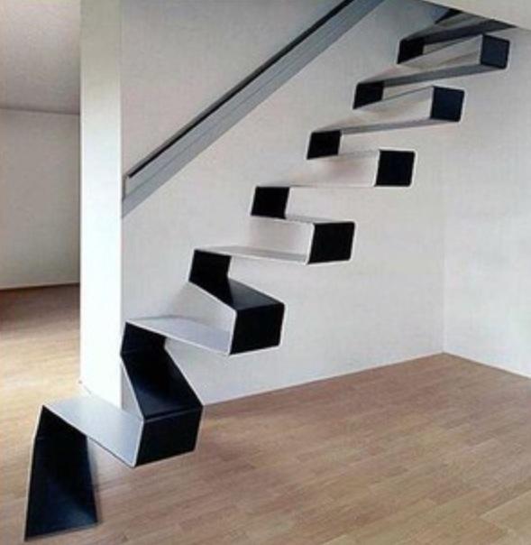 Toegepaste kunst, een trap in zigzagstyle. Super vet gemaakt!
