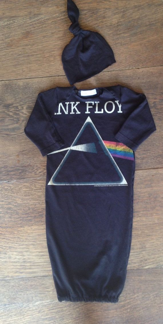 Pink Floyd band newborn baby gown onesie with by LittleOnesLove