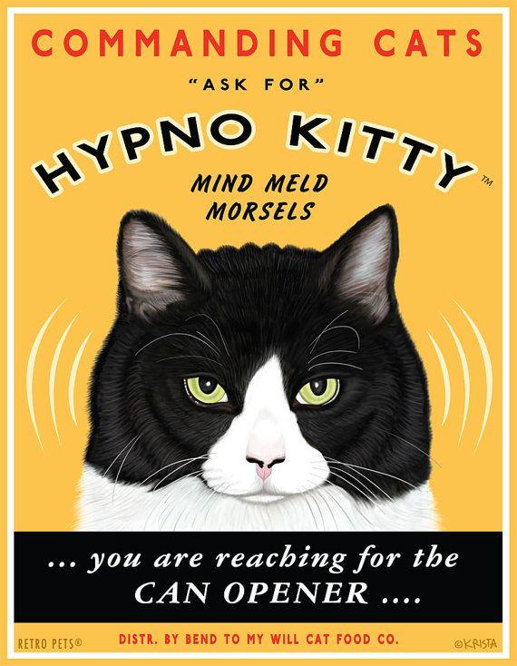 Cat Art - Hypno Kitty Mind Meld Morsels - 8x10 art print by Krista Brooks via Etsy