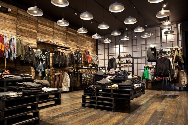 Lighiting reclaimed wood slatwall atrium kith store for Reclaimed wood new york
