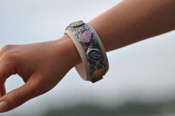 wood bracelet ceramic bracelet  cuff art  wood  gift by zolanna