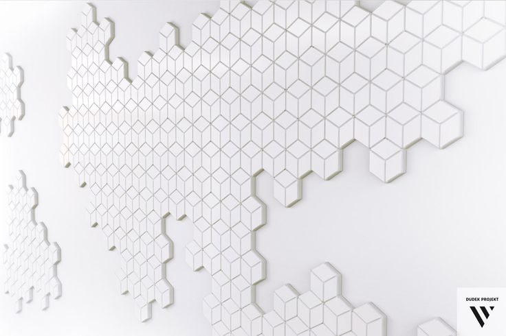 """DUDEK projekt. Panel ścienny """"SZEŚCIANY"""", trójwymiarowy panel zrobiony z MDFu. Wall panel """"CUBES"""", made of MDF."""