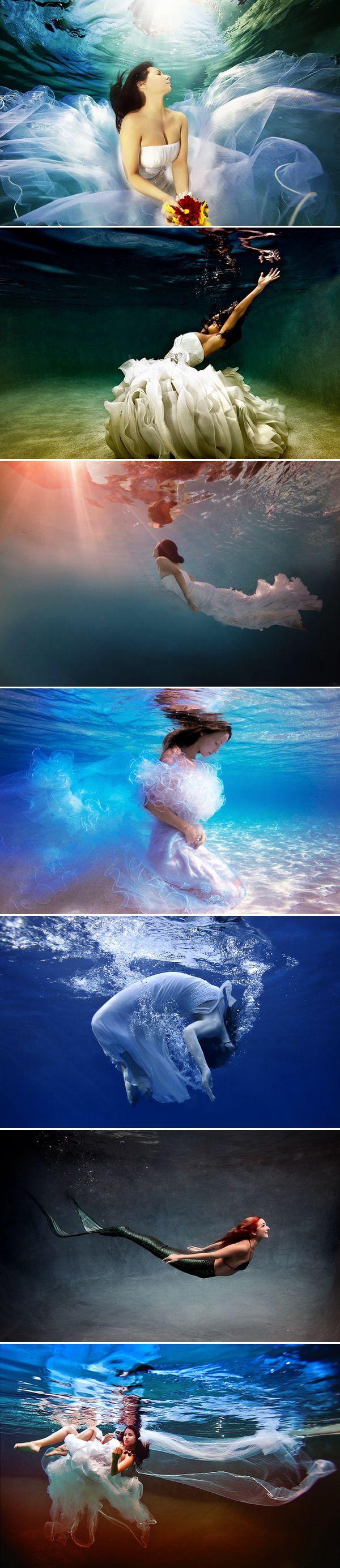 27 Beautiful Underwater Engagement Photos - Bridal portraits