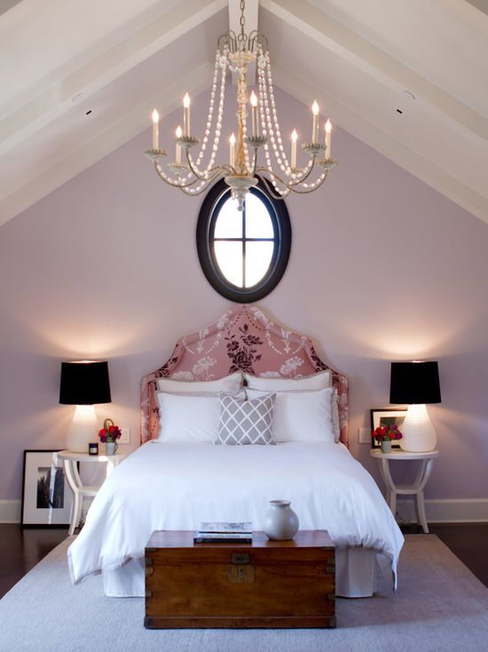 Pale purple bedroom with walls painted in Slip by Benjamin Moore via Jackson Paige Interiors, Inc.