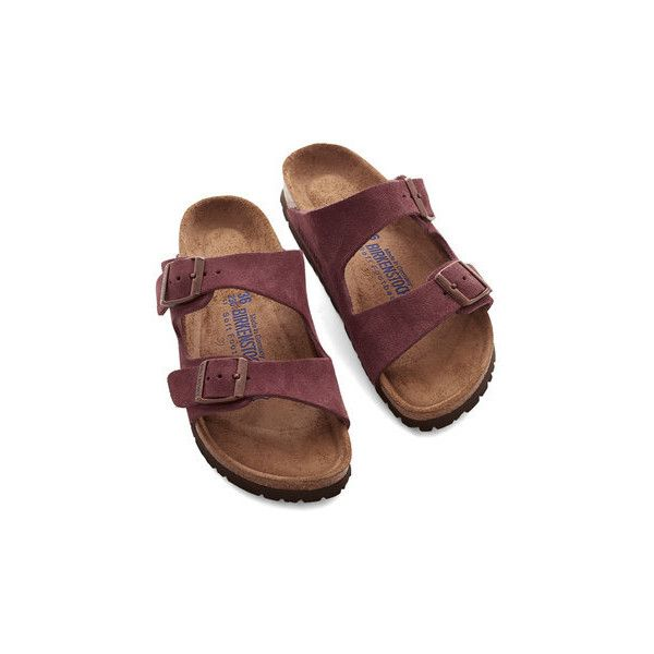 Birkenstock Boho Strappy Camper Sandal ($125) ❤ liked on Polyvore featuring shoes, sandals, flats, slide, no-thong slide, red, red shoes, strappy sandals, flat shoes and red flat shoes