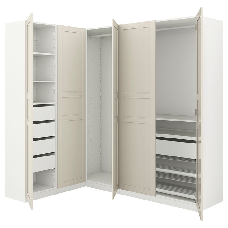 IKEA - PAX white Corner wardrobe Frame colour: white, Flisberget light